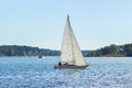 Sailboat, river and islands Royalty Free Stock Photo