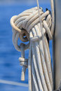 Sailboat rope detail on yacht Stock Photography