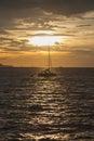 Sailboat sailing in the sea. Royalty Free Stock Photo
