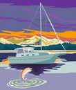 Sailboat sailing with trout Stock Photos