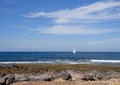 Sailboat at sea on Atlantic Ocean. Stock Photos