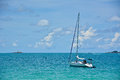 Sailboat on the sea with blue sky and cloudy Stock Photo