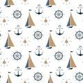 Sailboat , ship bell, nautical anchor, steering wheel seamless pattern.
