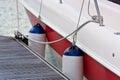 Sailboat side fenders closeup boat protection horizontal shot Royalty Free Stock Photos