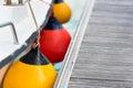 Sailboat side fenders closeup boat protection horizontal shot Stock Photography