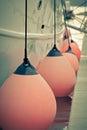 Sailboat side fenders closeup vertical toned shot Royalty Free Stock Photo