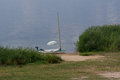 Sailboat stranded on the beach Royalty Free Stock Photo