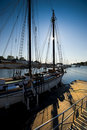 Sailboat and sun Royalty Free Stock Photography