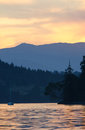 Sailboat sunset at anchorage on the british columbia coast Stock Photography