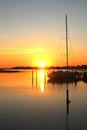 Sailboat in sunset Royalty Free Stock Photo