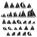 Sailboat symbol set. Royalty Free Stock Photo