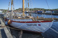 The sailboat taifun old dignified built of wood is moored to dock at port of halden norway photo is shot one day in september Royalty Free Stock Image