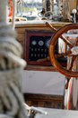 Sailboat wheel cockpit Stock Image