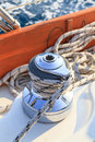 Sailboat winch and rope detail on yacht Royalty Free Stock Photo