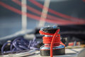 Sailboat winch and rope yacht detail. Royalty Free Stock Photo