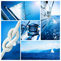 Sailboat Yacht collage.Sailing Stock Photo