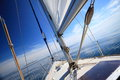 Sailboat yacht sailing in blue sea tourism yachting baltic sky sunny day summer vacation luxury lifestyle Stock Photography