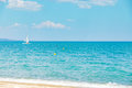 Sailboat yacht sailing sea ocean water on the horizon, summer sport Royalty Free Stock Photo