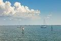 Sailboats Anchored in Tampa Bay, Florida Royalty Free Stock Photo