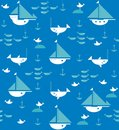 Sailboats with anchors, sharks, fish and sea gulls