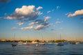 Sailboats in the Boston Inner Harbor, Boston Massachusetts. Royalty Free Stock Photo