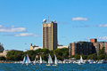 Sailboats on the Charles River, Boston, MA. Royalty Free Stock Photo