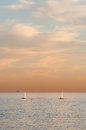 Sailboats and a cruise ship Royalty Free Stock Images
