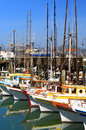 Sailboats docked in bay boats at fisherman s wharf san francisco california usa Stock Photography
