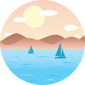 Sailboats floating in the sea. Mountain Beach, sun. Round flat vector illustration summer landscape
