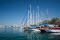 Sailboats in the harbor of Kos, Dodecanese island Royalty Free Stock Photo