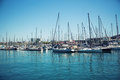 Sailboats in harbor small a barcelona Stock Photos