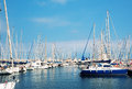 Sailboats in harbor small a barcelona Royalty Free Stock Images