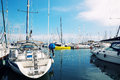 Sailboats in harbor small a barcelona Stock Images