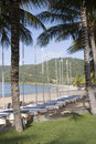 Sailboats line Hamilton Island beach Royalty Free Stock Photography