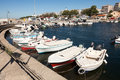 Sailboats at marina dock of Alexandroupolis Royalty Free Stock Photo
