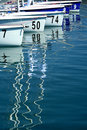Sailboats in marina before start of regatta Royalty Free Stock Photos