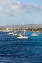 Sailboats Moored off Bonaire Royalty Free Stock Photo