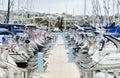 Sailboats moored in a row on docks at Manoel Island Marina Royalty Free Stock Photo