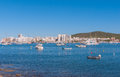 Sailboats & pleasure craft moored.  Morning in the harbor of Sant Antoni de Portmany, Ibiza town, Balearic Islands, Spain. Royalty Free Stock Photo