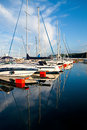 Sailboats reflections in port of gdynia city poland Royalty Free Stock Photo