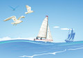 Sailboats and seagulls illustrated on blue calm ocean water Stock Images