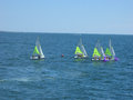 Sailboats small off the coast of the island of martha s vineyard massachusetts Royalty Free Stock Images