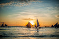 Sailboats at sunset, Boracay Island Royalty Free Stock Photo