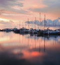 Sailboats with sunset reflection at sabah borneo malaysia Royalty Free Stock Images