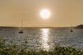 Sailboats at sunset Royalty Free Stock Photo