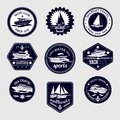 Sailboats travel labels icons set Royalty Free Stock Photo