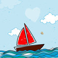 Sailboats for Valentine`s Day Celebration.