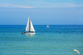 Sailboats yachts sailing on the sea england Stock Photos