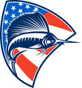 Sailfish fish jumping american flag shield retro illustration of a with stars and stripes in background set inside done in style Royalty Free Stock Photos
