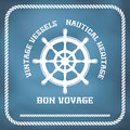 Sailing badge with ship wheel Stock Photos